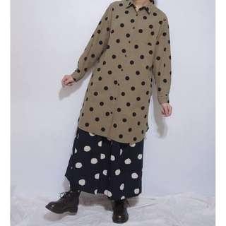 。error dot。日本黑糖珍珠圓點長版襯衫