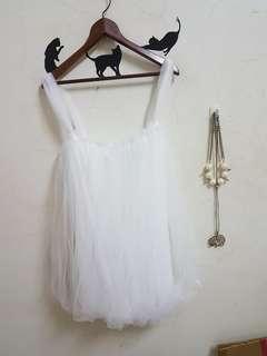 🚚 全新白色紗網浪漫上衣