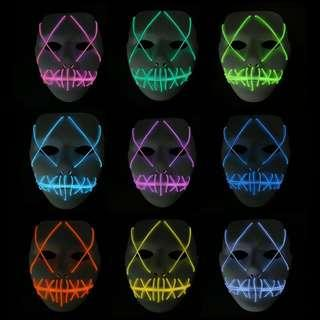 LED Flash Mask Cosplay Halloween Mask Party Cool Mask Plastic Costume Party