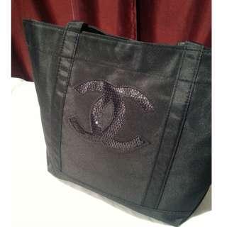 Chanel VIP Black Sequin Tote Bag