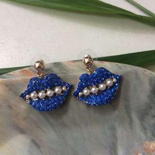 Auth Karl Lagerfeld Dangling Earrings (Blue)