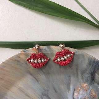 Auth Karl Lagerfeld Dangling Earrings (Red)