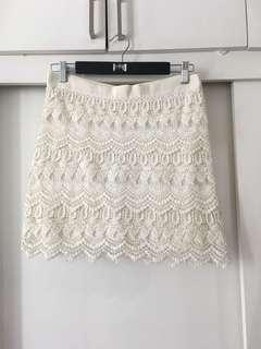 White Lace Knit Skirt