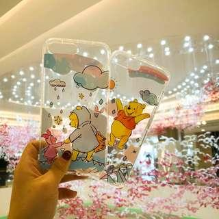 2 Designs Clear Based Instocks Ready Stocks Brand New Winnie the Pooh Eeyore Mobile Hand Cell HP Phone Case Casing Cover Slipcase Shell - Apple IPhone 6 6S Plus IPhone7 7Plus IPhone8 8Plus & X 10 Ten