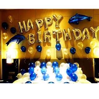 🚚 (In Stock)Dolphin Birthday Party Decoration Set-Happy Birthday
