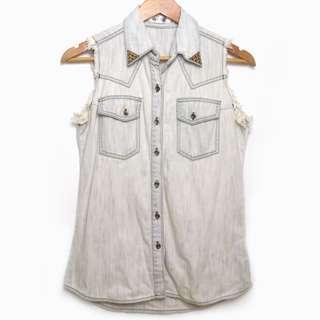 Next Sleeveless Coachella Denim Top With Collar Studs