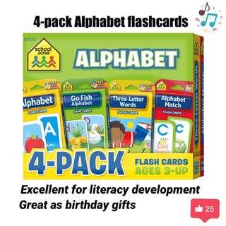 🚚 SALE!! 4-pack flashcard alphabet abc - baby shower gift