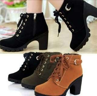 Platform Boots High Heel Lace Up Ankle Boots Suede Women Shoes