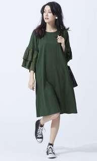 🚚 Mobo異材質荷葉袖直線條洋裝 M