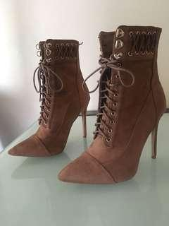 Lace up brown suede heels