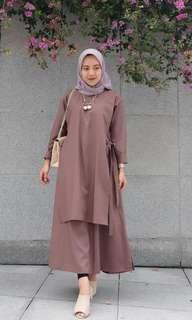 Dress Mocca Bahan Balloteli Jahitan Rapi