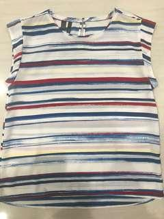 Mango top with red blue yellow white stripe