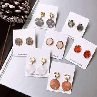 Korean K-Style Minimalist Trendy Ladies Fashion Ear Studs / Earrings / Danglies - $6/Pair, Buy 2 get 1 FREE! (Instocks ulzzang pony makeup sephora marble tassels)