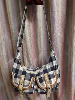 Checkered Canvas Sling Bag