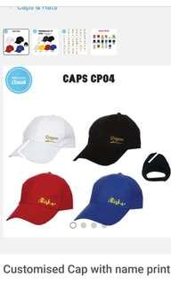 Customised Adult Sports Couple Caps - initial text print, heart series with customised design side print
