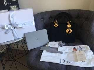 Authentic Lady dior Bag Nylon in Gold hardware