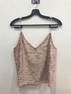 🚚 H&M Pink Velvet Spag Strap Tank Top