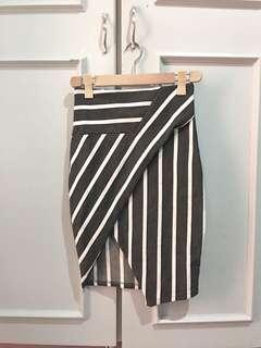 Stripes Asymmetric Bandage Skirt