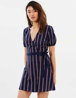 THE FIFTH LABEL Nautical Stripe Wrap Dress
