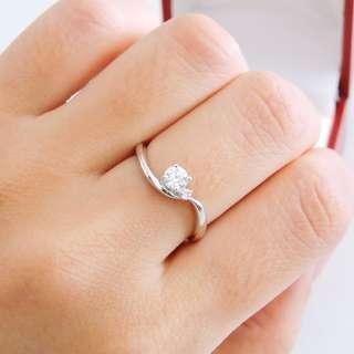🚚 白K金 天然鑽石真鑽鑽戒 22分+3分=25分 鑽石戒指 求婚戒 女戒 輕珠寶