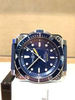 """Brand New Bell & Ross BR03-92 """"Diver"""" Blue Dial Automatic Steel Casing Rubber"""