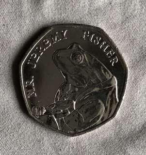 2017 UK 50p Coin, Mr Jeremy Fisher, Excellent Condition.