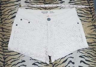 Mossimo lacey white denim shorts