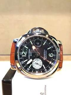 Pre Owned Panerai Luminor Marina Pam 088 GMT Black Dial Automatic Steel Casing Leather