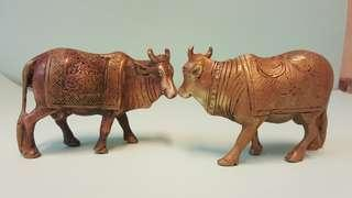 Pair of Brass Antique Cows