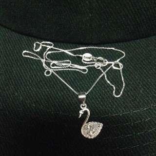 Genuine 925 Sterling Italy Silver Elegant Swan w/ Diamond Gem Stones Necklace
