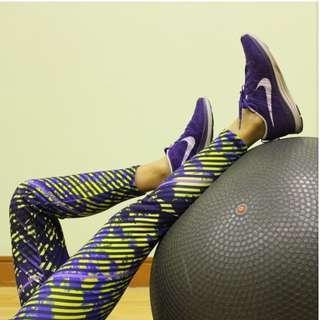 Purple and Yellow Printed Leggings