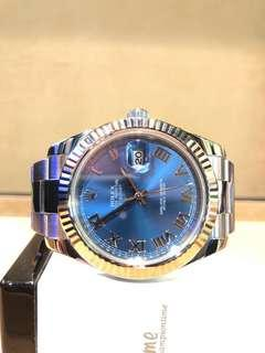 Pre Owned Rolex Oyster Datejust II 116334 Blue Dial Automatic Steel Casing Bracelet