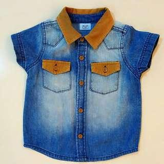 Baby Boy F&F Denim Jean Shirt Top