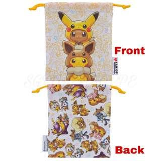 [PO] DRAWSTRING POUCH [FANS OF PIKACHU & EEVEE] - POKEMON CENTER EXCLUSIVE