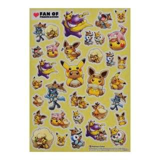 [PO] STICKERS SHEET [FANS OF PIKACHU & EEVEE] - POKEMON CENTER EXCLUSIVE
