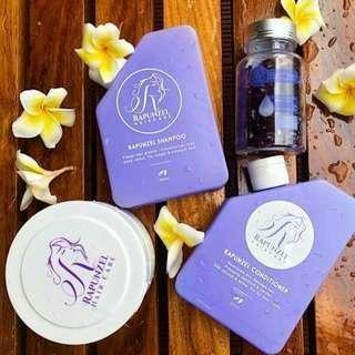 Authentic Rapunzel Haircare set for Hair Growth & Damaged Hair & Gummy Bear Hair Vitamins Berries Flavor PO