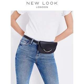 🚚 全新🇬🇧英國NEW LOOK黑色腰包式腰帶皮帶