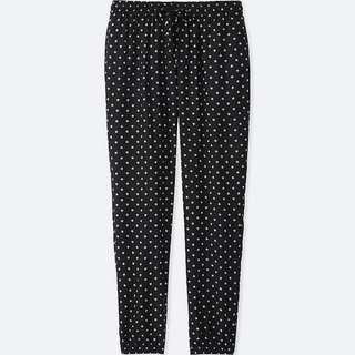 *3FOR2 Uniqlo Polka Dot Black Lounge Drape Jogger Pants / Women Loose Fit