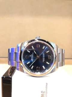 Brand New Rolex Oyster Perpetual 114200 Blue Dial Automatic Steel Casing Bracelet