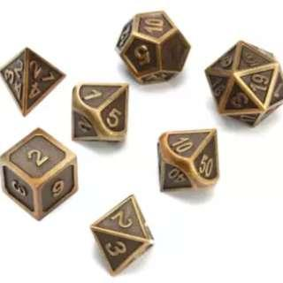 Embossed Metal Dice Set in Bronze, Gold and Silver: Pre Order