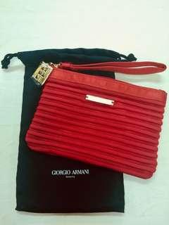 GIORGIO ARMANI COSMETIC BAG in RED