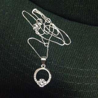 Genuine 925 Sterling Italy Silver Elegant Diamond Ring w/ Gem Stones Necklace