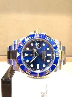 Brand New Rolex Oyster Submariner 116613LB Blue Dial Automatic Steel Casing Bracelet