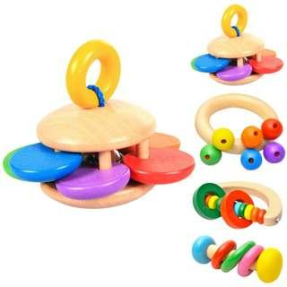 Wooden Baby Bell Rattle Toy Light weight Baby Toy