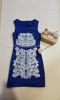 [New]Blue sequin embroidery dress(free size)
