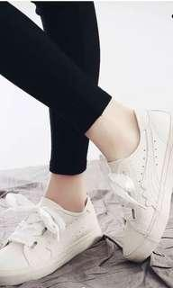 Sneakers with Ribbon Lace in Cream