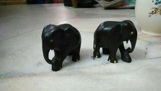 2 wood craft elephant