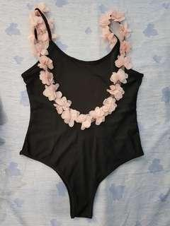 One piece swimauit Black with flower petals