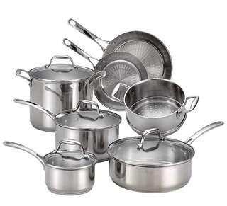 🚚 T-fal 12 Piece Performa Stainless Steel Cookware Set, Silver Cast Stainless Steel Handle NULL Silver
