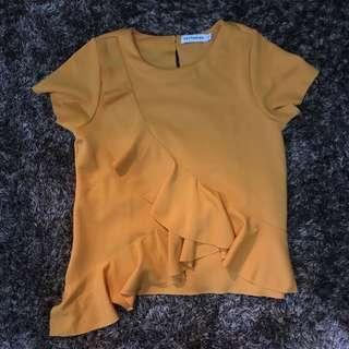 Cotton Ink - Ruffled Mustard Top
